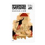 Vintage Skeleton Mad Scientists Halloween Potions Postage Stamp