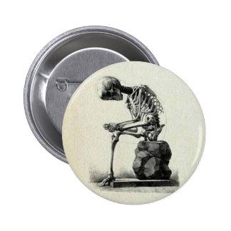 Vintage Skeleton Thinker Pinback Button