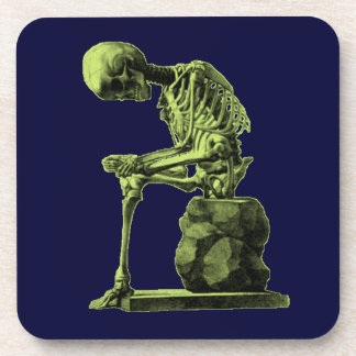 Vintage Skeleton Thinker Drink Coaster