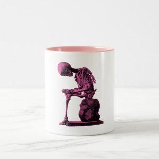 Vintage Skeleton Thinker Two-Tone Coffee Mug