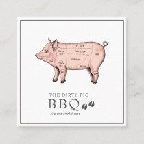 Vintage Sketch Butcher Pig Business Card