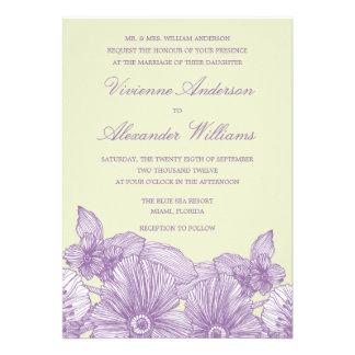 VINTAGE SKETCH FLOWERS   WEDDING INVITATION