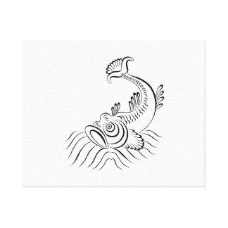 Vintage sketch.png dentado de los pescados del océ impresión en tela