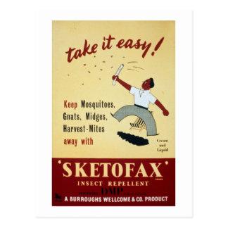 "Vintage ""Sketofax"" Insect Repellant Advertisement Postcard"