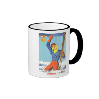 Vintage Ski Advertisement Ringer Mug