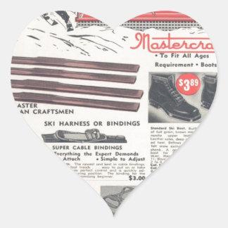 Vintage ski advertisement, winter sports goods heart sticker
