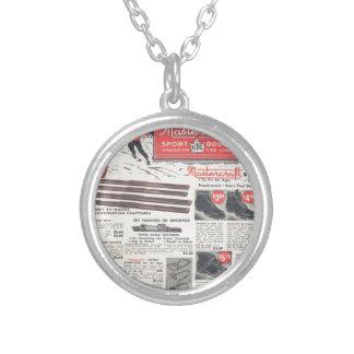 Vintage ski advertisement, winter sports goods necklace