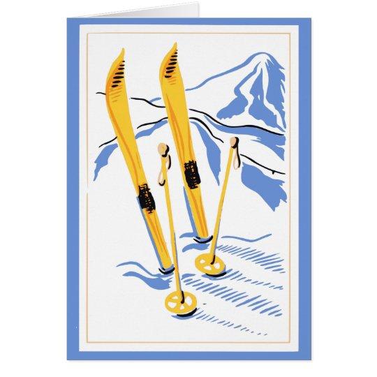 Vintage Ski Art Card