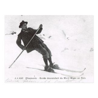 Vintage Ski, Descending Mt Blanc on skis Postcard