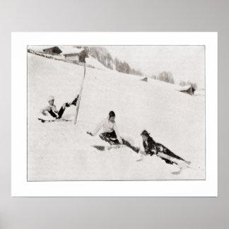 Vintage ski iamge, Fun in the snow Print