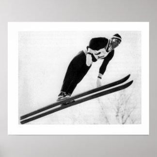 Vintage ski iamge, Keep jumping Posters