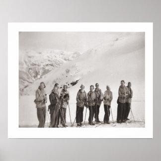 Vintage ski iamge, ladies on skis poster