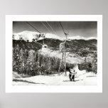 Vintage ski iamge, Ski lifts at last Poster