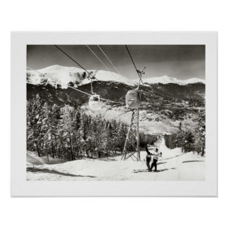 Vintage ski iamge, Ski lifts at last Poster