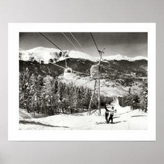 Vintage ski iamge, Ski lifts at last Print
