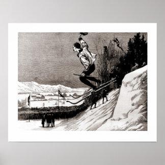 Vintage ski  image, Bottom of the piste Posters