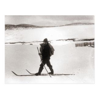 Vintage ski  image, Cross country skiing Postcard
