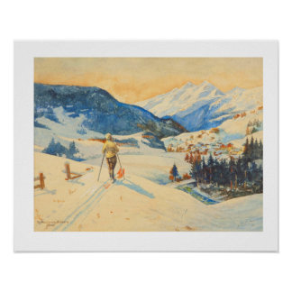 Vintage ski image Cross country skiing Poster