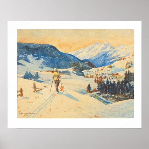 Vintage ski  image, Cross country skiing Poster