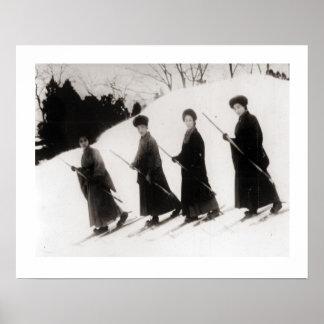 Vintage ski  image, Four Japanese ladies Posters