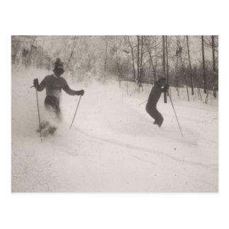 Vintage ski  image, Great powder! Postcard