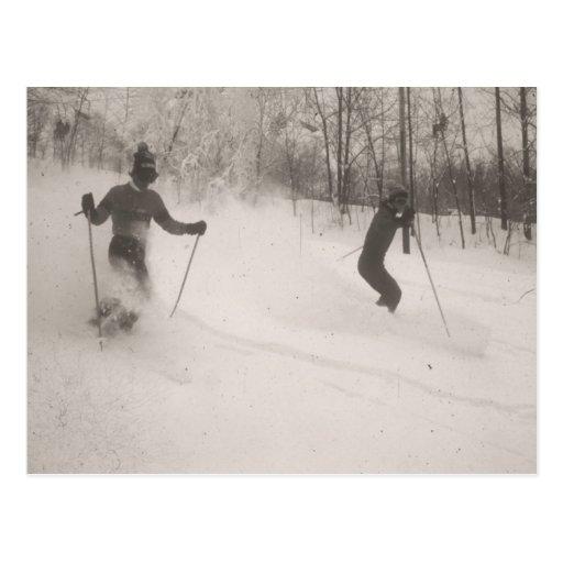 Vintage ski  image, Great powder! Post Card
