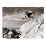 Vintage ski  image,  Jumping together Postcards