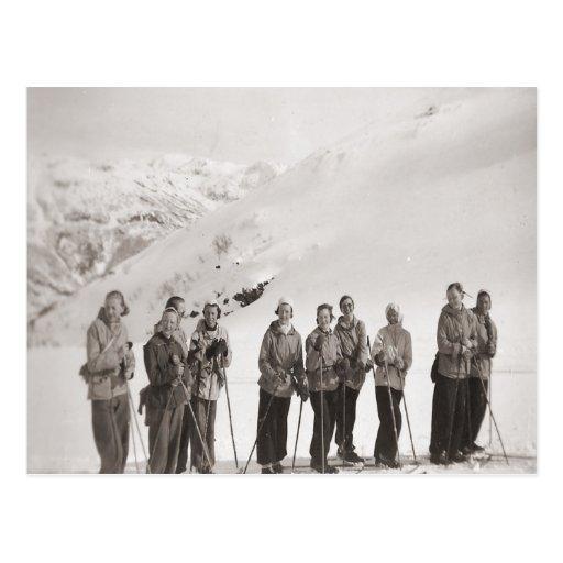 Vintage ski  image, Ladies ski outing Post Card