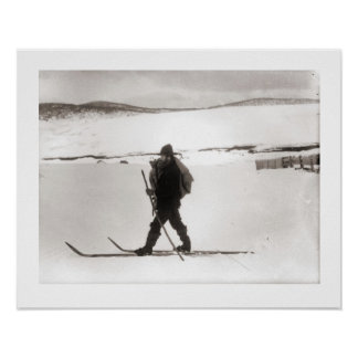 Vintage ski  image, Nordic style Print