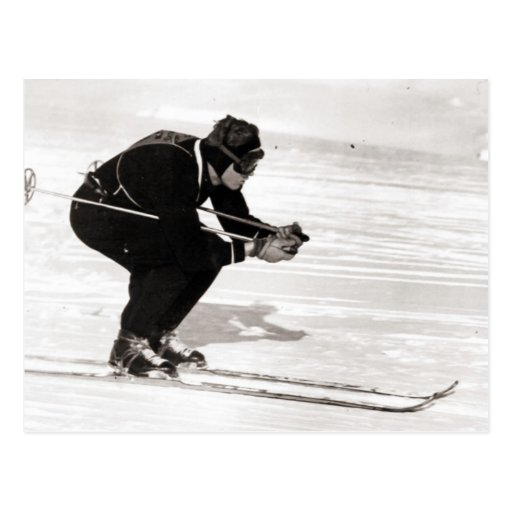 Vintage ski  image, Race for the finish Postcard