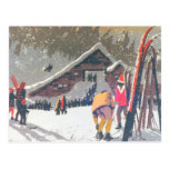 Vintage ski  image, Ready to compete Post Card