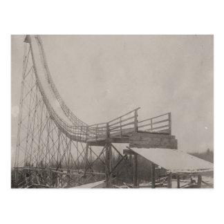 Vintage ski  image,  Ski jump safety! Postcard