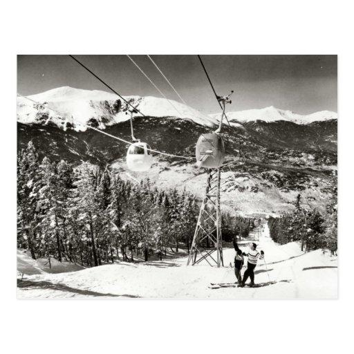 Vintage ski  image, Ski lift Postcard