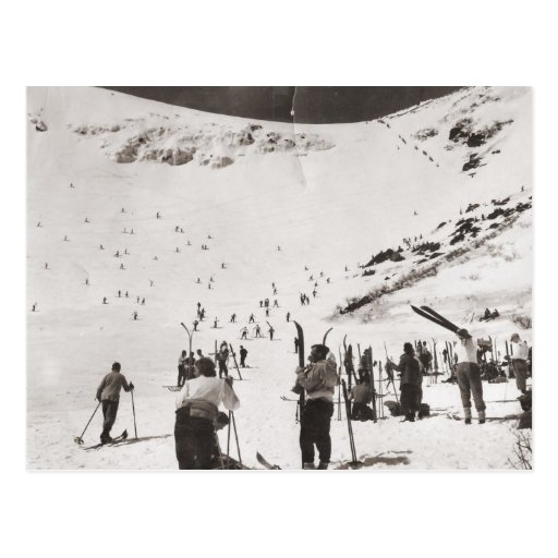 Vintage ski  image, Skiers on the slopes Postcard