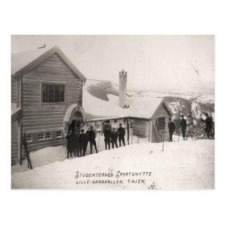 Vintage ski  image, Student sports centre Postcard