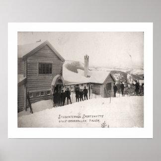 Vintage ski  image, Student winter sports centre Print