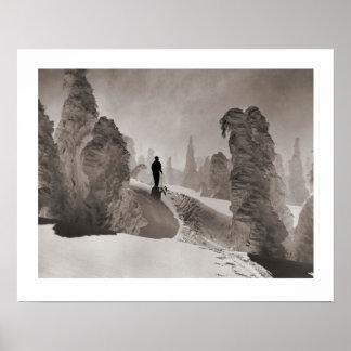 Vintage ski  image, Trail through the forest Print