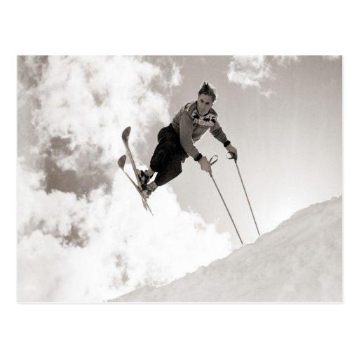Vintage ski  image,Tricks on skis Post Cards