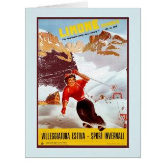 Vintage ski Limone Piemonte Italian travel poster Card