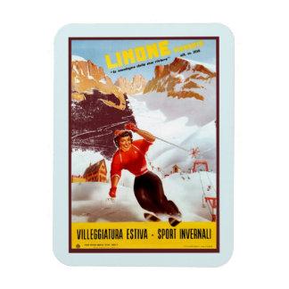 Vintage ski Limone Piemonte Italian travel poster Magnet