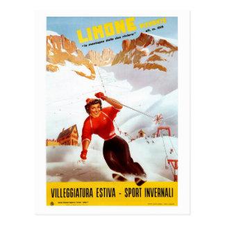Vintage ski Limone Piemonte Italian travel poster Post Cards