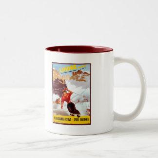 Vintage ski Limone Piemonte Italian travel poster Two-Tone Coffee Mug