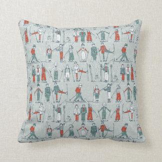 vintage ski linen throw pillow