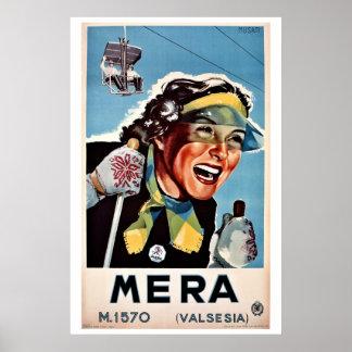 Vintage ski Mera Valsesia Italian travel Poster
