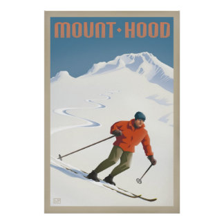 Vintage Ski Mount Hood retro travel poster