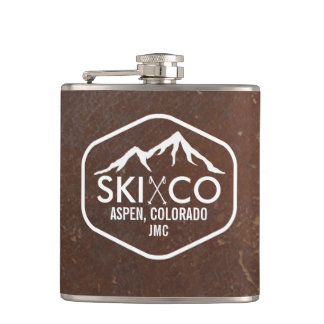 Vintage Ski Mountain Aspen CO Monogram Leather Flask