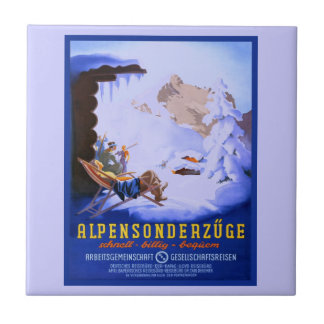 Vintage Ski poster, Alpensonderzuge, Germany Ceramic Tile