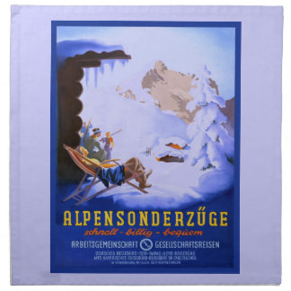 Vintage Ski poster, Alpensonderzuge, Germany Cloth Napkin