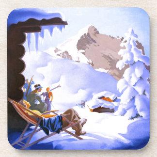 Vintage Ski poster, Alpensonderzuge, Germany Drink Coaster