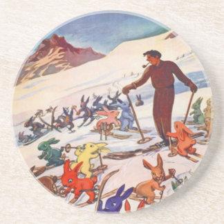 Vintage Ski Poster Arlberg St Anton Drink Coasters